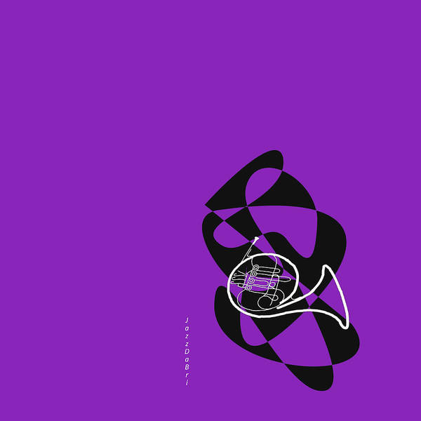 Wall Art - Digital Art - French Horn In Purple by David Bridburg