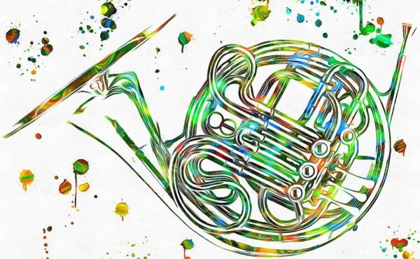 Wall Art - Painting - French Horn Paint Splatter by Dan Sproul