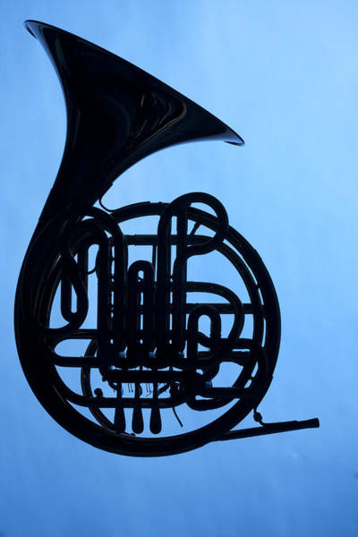 French Horn Silhouette On Blue Art Print