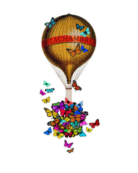 Air Balloon Wall Art - Digital Art - French Hot Air Balloon With Rainbow Butterflies Basket by Madame Memento