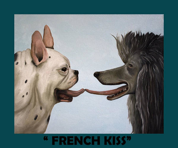 Painting - French Kiss With Lettering by Leah Saulnier The Painting Maniac