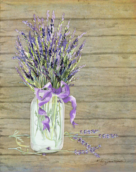 Country Wedding Painting - French Lavender Rustic Country Mason Jar Bouquet On Wooden Fence by Audrey Jeanne Roberts