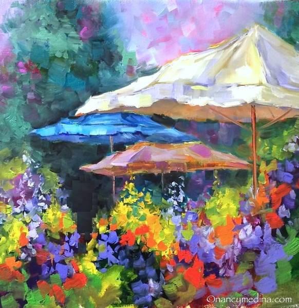 Flower Market Painting - French Market Flower Garden by Nancy Medina