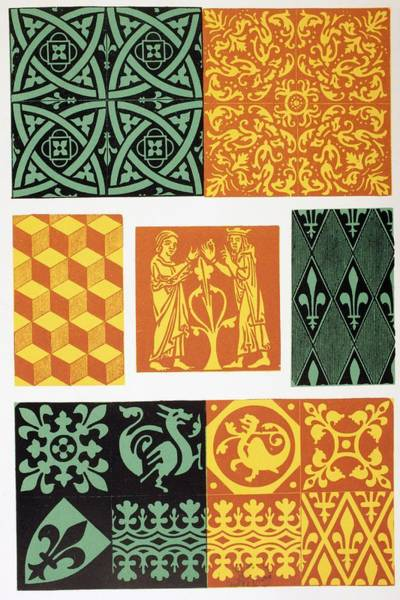 Tile Drawing - French Medieval Floor Tiles From Les by Vintage Design Pics