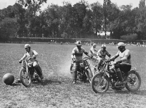 Photograph - French Motorcycle Polo by Underwood Archives