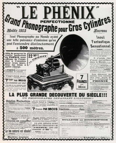 Nostalgia Drawing - French Phonograph Advert, 1903 by French School