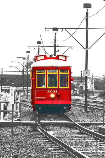 Wall Art - Photograph - French Quarter French Market Cable Car New Orleans Color Splash Black And White With Film Grain by Shawn O'Brien