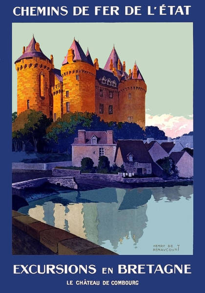 Wall Art - Painting - French Railway, Excursion To Brittany, Castle, Travel Poster by Long Shot