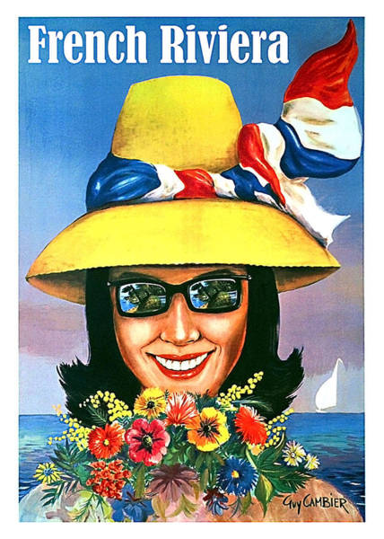 Sunglasses Painting - French Riviera, Woman With Sunglasses And Big Yellow Hat by Long Shot