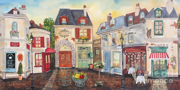Time Square Painting - French Street Scene-jp3205 by Jean Plout