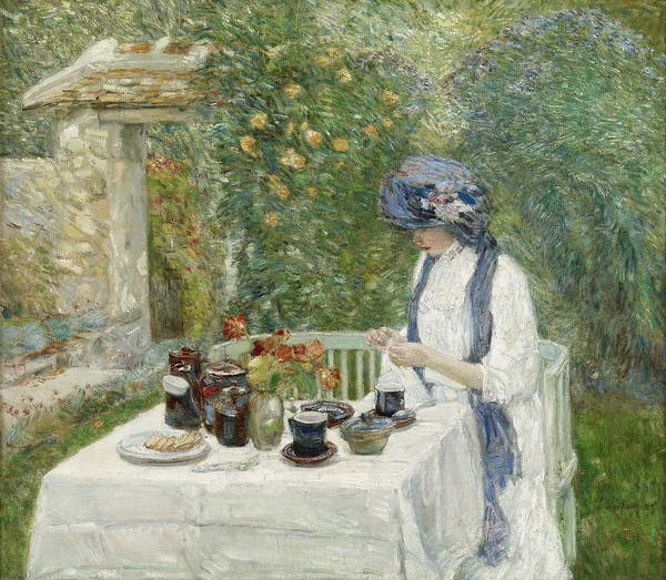 Wall Art - Painting - French Tea Garden by Childe Hassam
