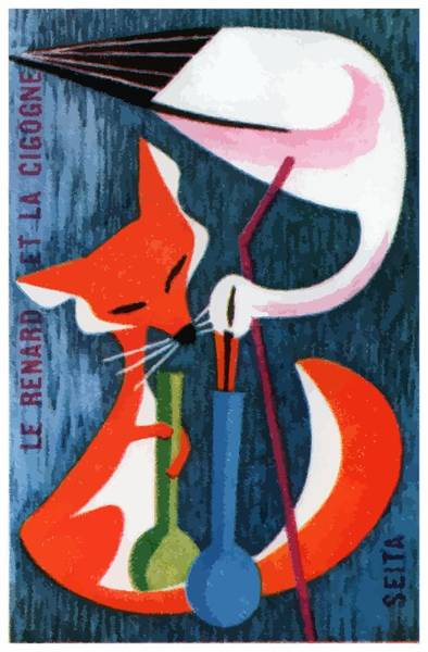 Foxes Digital Art - French The Fox And The Stork Matchbox Label by Retro Graphics