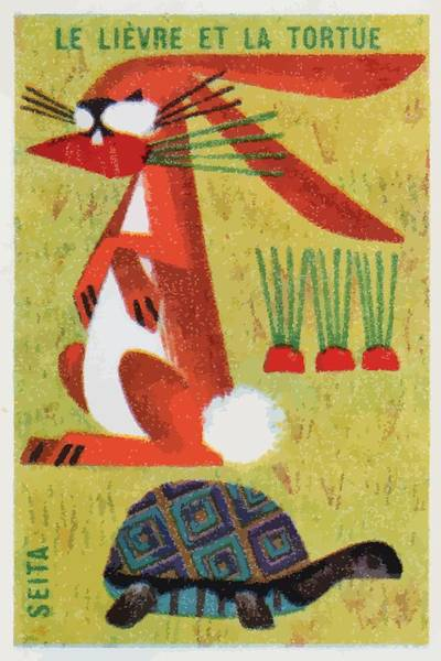 Matchbox Wall Art - Digital Art - French The Tortoise And Hare Matchbox Label by Retro Graphics