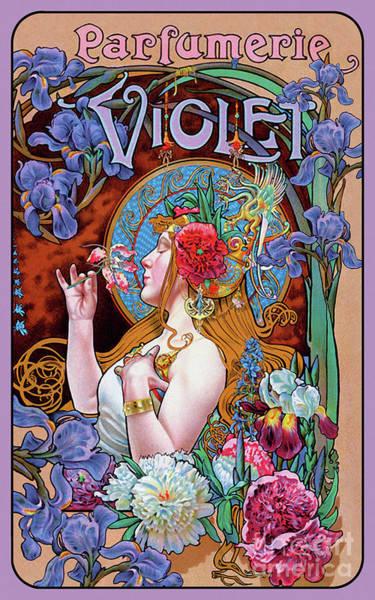 Wall Art - Painting - French Vintage Art Nouveau Era Perfume Ad, Parfum France by Tina Lavoie