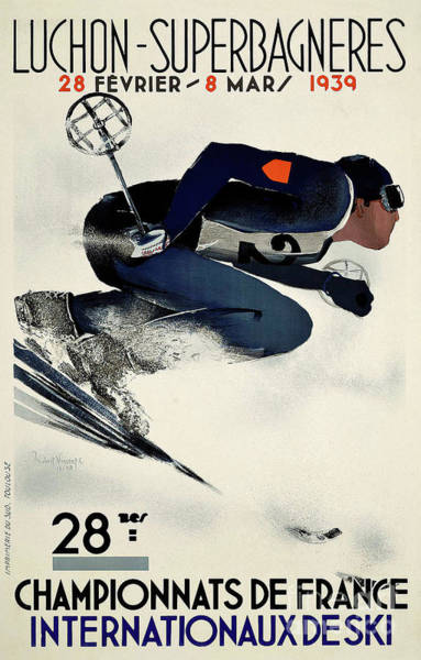 Wall Art - Painting - French Vintage Ski Competition Advert From 1939 by Tina Lavoie