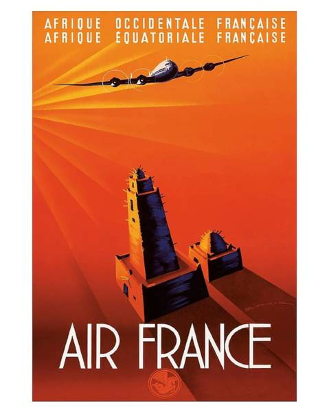 Francaise Digital Art - French West Africa Air France Vintage Airline Travel Poster By Edmond Maurus by Retro Graphics