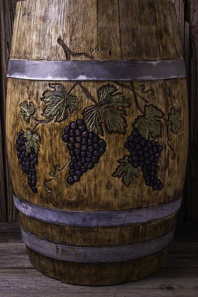 Wine Tasting Photograph - French Wine Barrel With Grapes by Garry Gay
