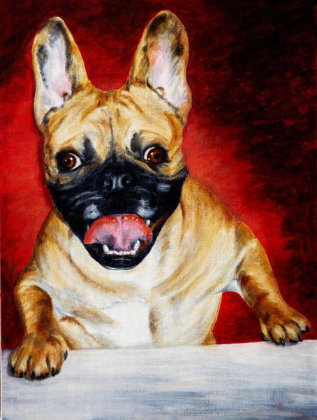 Frenchie With A Smile Art Print by Karen Peterson