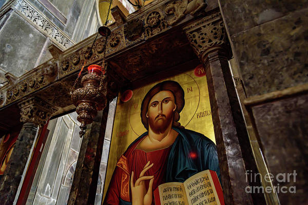Photograph - Fresco Painting Of Jesus At The Church Of Holy Luke At Monastery Of Hosios Loukas In Greece  by Global Light Photography - Nicole Leffer