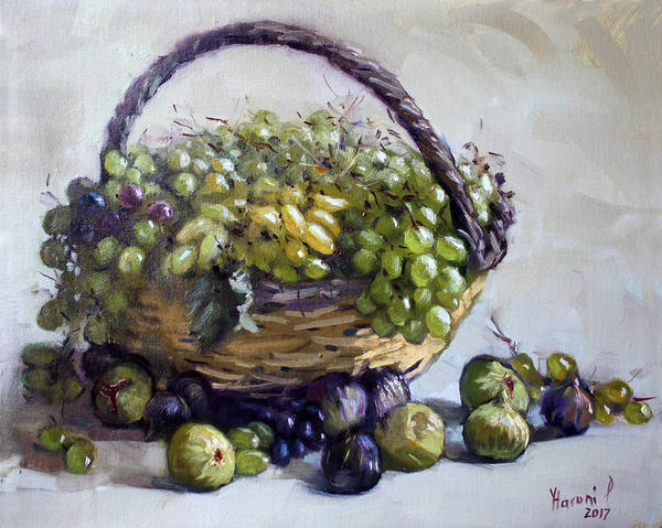 Still-life Painting - Fresh Grapes And Figs From Lida's Garden by Ylli Haruni