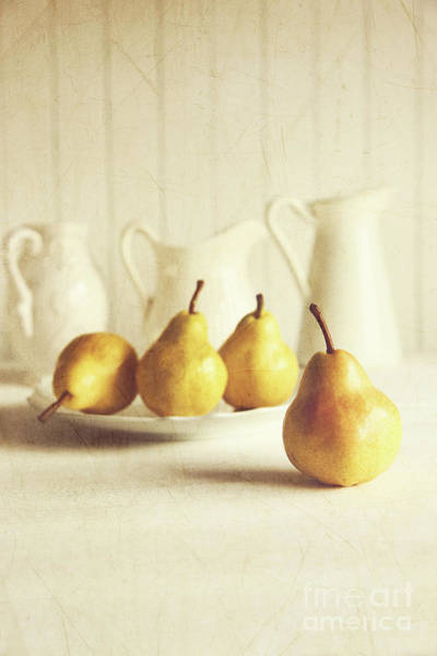 Wall Art - Photograph - Fresh Pears On Old Wooden Table by Sandra Cunningham