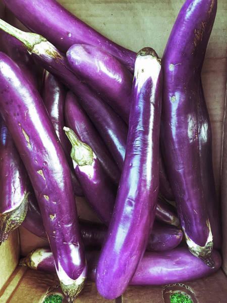 Aubergine Wall Art - Photograph - Fresh Purple Aubergines by Tom Gowanlock