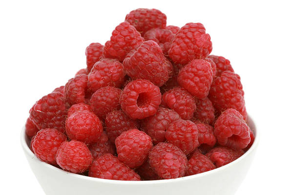 Wall Art - Photograph - Fresh Raspberries In A White Bowl by Michael Ledray
