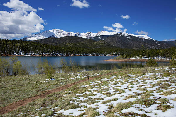 Fresh Snow Along The Banks Of Crystal Creek Reservoir With Pikes Art Print