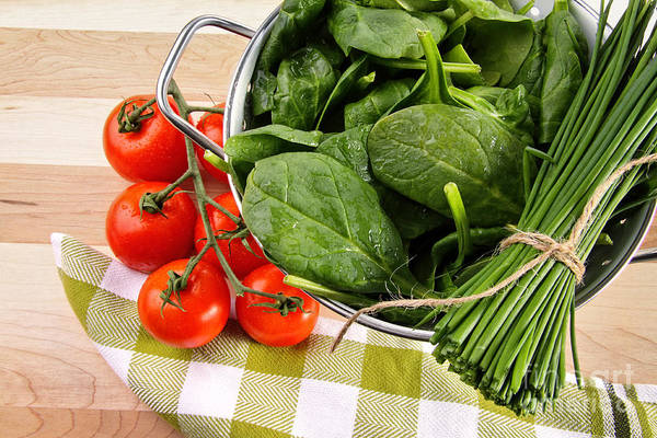 Photograph - Fresh Spinach Leaves With Tomatoes And Strainer by Sandra Cunningham