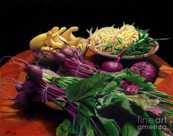 Bermuda Onion Wall Art - Painting - Fresh Veggies by Peter Piatt