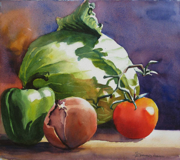 Food Still Life Painting - Fresh Vegetables by Sue Zimmermann