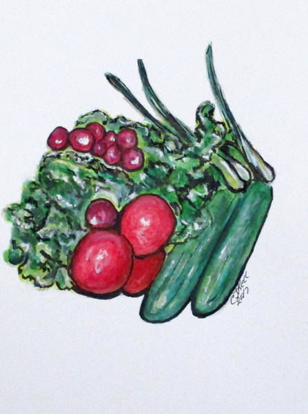 Painting - Freshly Uncut Salad by Clyde J Kell