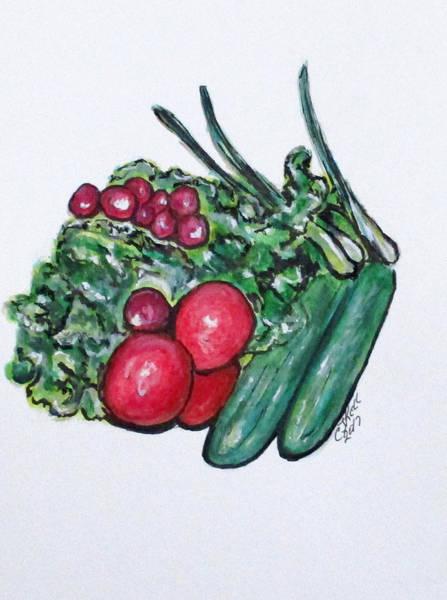 Painting - Freshly Uncut Salad by Clyde J Kell