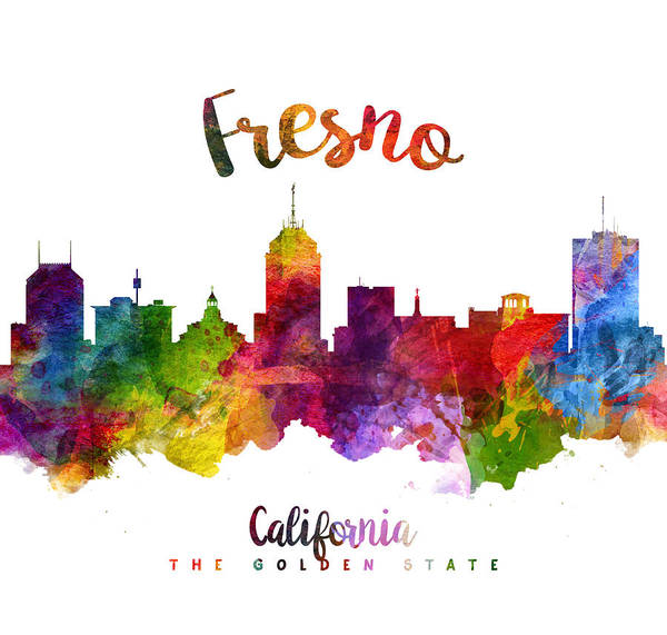 Wall Art - Painting - Fresno California Skyline 23 by Aged Pixel