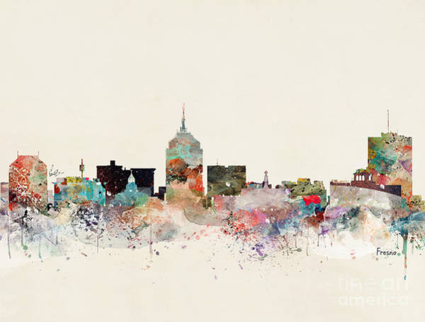 California Landscape Painting - Fresno California Skyline by Bri Buckley