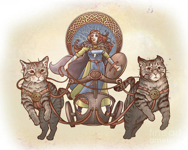 Mythology Digital Art - Freya And Her Cat Chariot-garbed Version by Dani Kaulakis