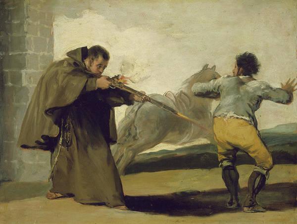 Butt Painting - Friar Pedro Shoots El Maragato As His Horse Runs Off by Goya