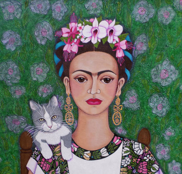 Painting - Frida Cat Lover Closer by Madalena Lobao-Tello