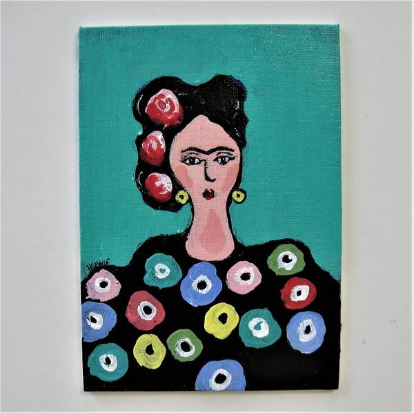 Wall Art - Painting - Frida In Turquoise by Brooke Baxter Howie