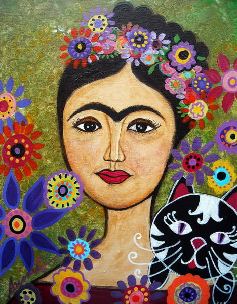 Painting - Frida Kahlo And Cat by Pristine Cartera Turkus
