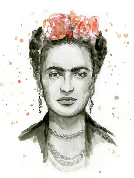 Fan Painting - Frida Kahlo Portrait by Olga Shvartsur