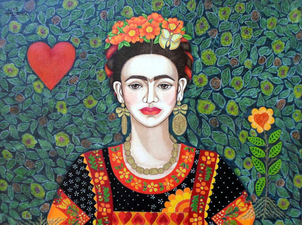 Painting - Frida Queen Of Hearts  Closer II  by Madalena Lobao-Tello