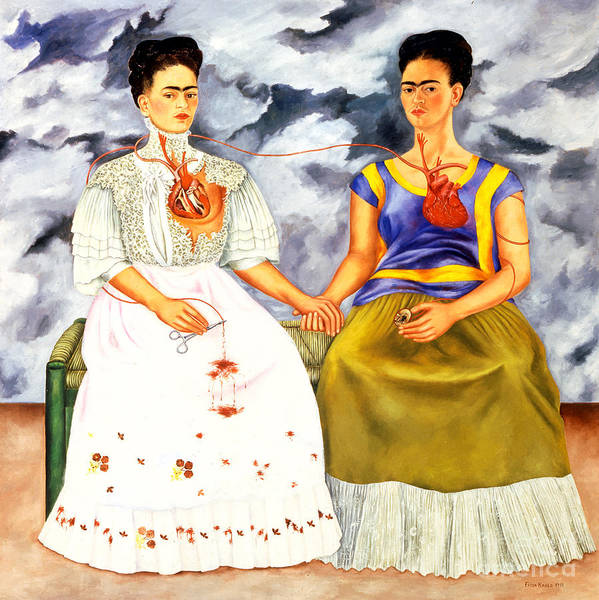 Wall Art - Painting - Frida Kahlo The Two Fridas by Pg Reproductions