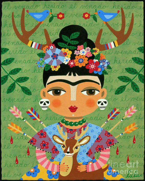 Wall Art - Painting - Frida Kahlo With Antlers And Deer by LuLu Mypinkturtle