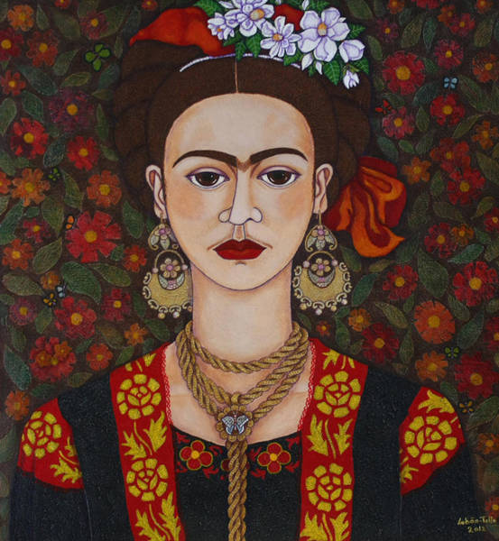 Painting - Frida With Butterflies by Madalena Lobao-Tello