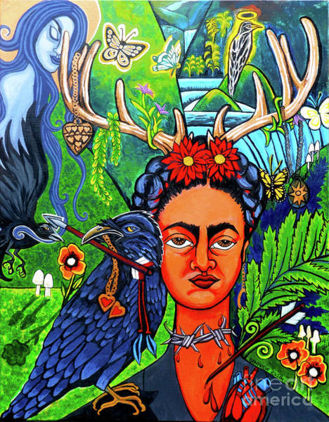 Latino Painting - Frida Kahlo With Ravens by Genevieve Esson
