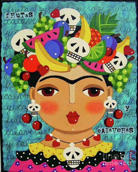 Wall Art - Painting - Frida, Skulls And Fruits by LuLu Mypinkturtle