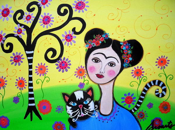 Painting - Frida With Her Cat by Pristine Cartera Turkus