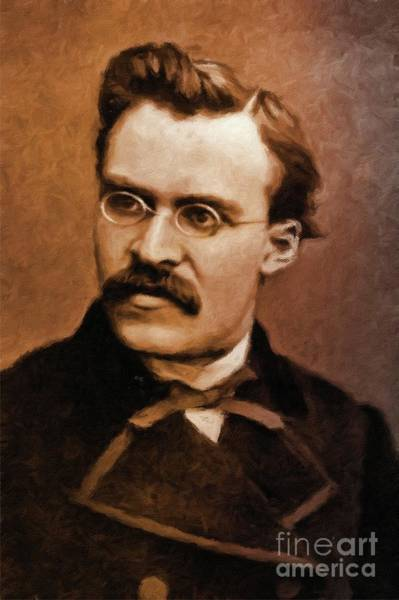 Poetry Painting - Friedrich Nietzsche, Philosopher By Mary Bassett by Mary Bassett