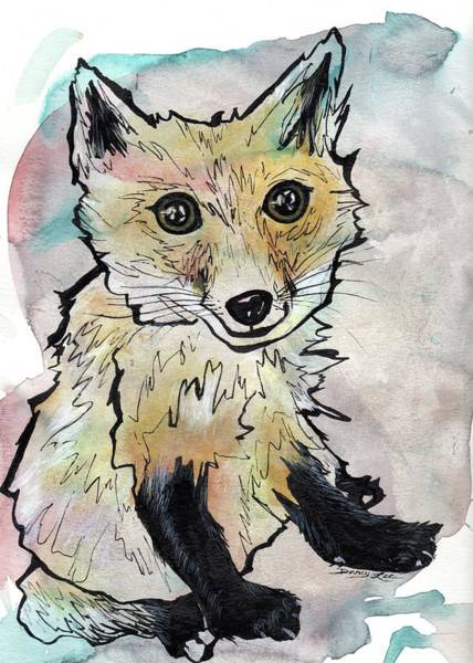 Painting - Friendly Fox by Darcy Lee Saxton